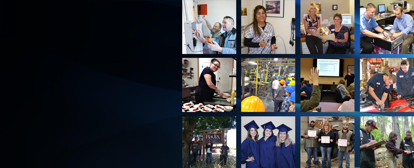 SkillSource's cover image depicts various real job seekers and business customers in a wide variety of career settings.